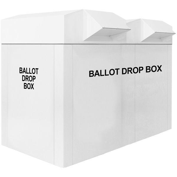 """76"""" Dual Drop Curbside Ballot Box - White"""