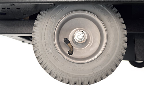 Close up of 8 inch rugged wheel