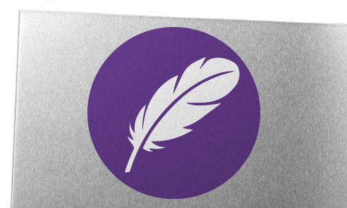 Aluminum sheet metal with feather icon