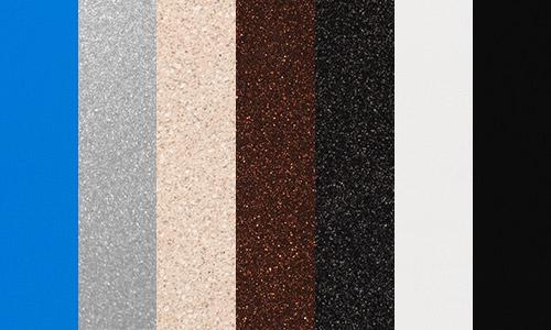 Outdoor return colors - Blue, Luster, Sandstone, Bronze, Graphite, Black, and White