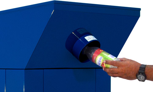 Bottles being deposited with one hand