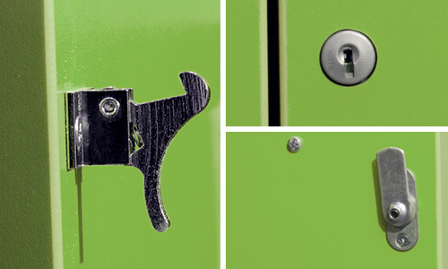 Door lock and latch on a ColorWood unit in Island