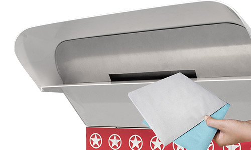 Envelopes being deposited with one hand