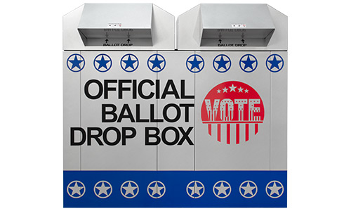 Silver 60 in ballot drop box with star decals