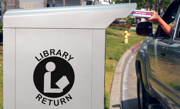 Drive-up deposit of books in a C-Series book drop
