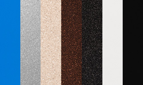 Outdoor return colors - Blue, Luster, Sandstone, Bronze, Graphite, Black, and White