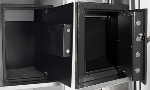 View of standard and heavy-duty safes open